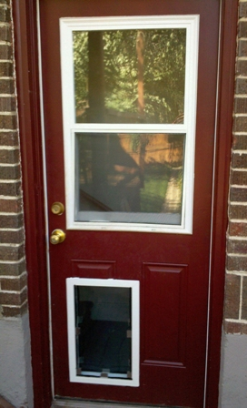 Dog and cat door installation - Interior door with pet door installed ...